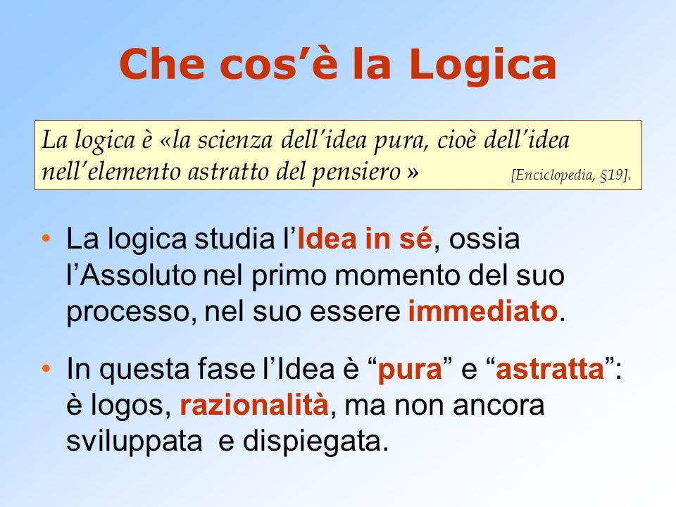 Che cos'è la Logica La logica è «la scienza dell'idea pura, cioè dell'idea nell'elemento astratto del pensiero » [Enciclopedia, §19].